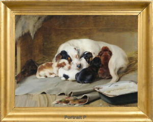 Old Master Art Portrait Animal Family Nap Dog Oil Painting Canvas Unframed 24x30