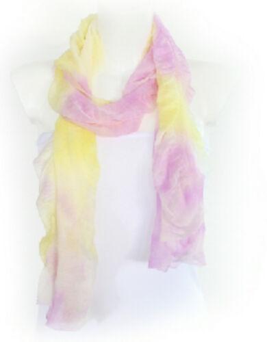 NEU Damen Schal Chiffon Batik Tuch Halstuch Crash Chiffonschal gelb pink pastell