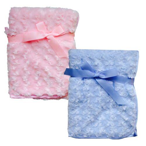 Personalised Baby Blanket Embroidered Fleece Pink Blue Boy Girl New Baby Gift