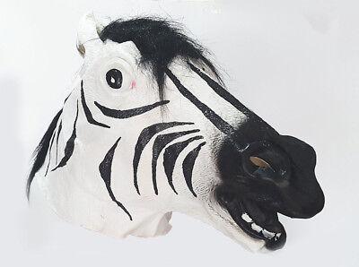 Dimensioni senza lattice divertenti Zebra Head mask Bianco Costume mostra addio al celibato nubilato