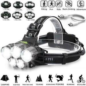 UK 350000LM 5* T6 LED Headlamp Headlight Head Torch Rechargeable Flashlight Camp