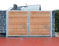 Einfahrtstor 200 X 160cm 2-flügelig Verzinkt + Holz Tor Gartentor Holztor