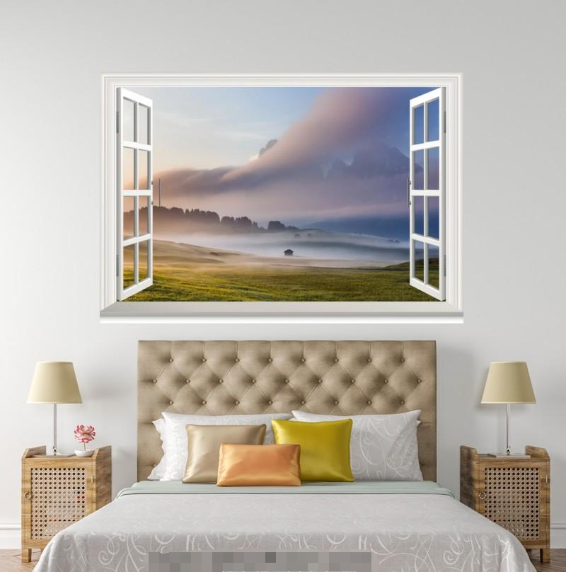 3D Weiß Cloud Sod 0117 Open Windows WallPaper Murals Wall Print AJ Carly