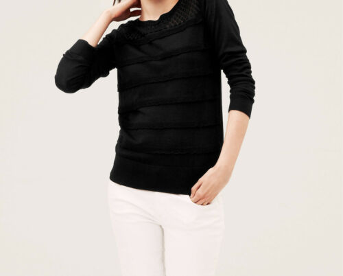 Ann Taylor LOFT Pointelle Yoke Scalloped Ruffle Sweater Pullover Size XSP MP