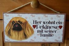 Türschild Tierschild Schild Tafel Holzschild Deko Bild Wandbild ♥ Pekinese Hund