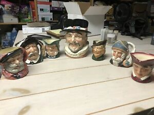 Royal-Doulton-Toby-Mugs-Vintage-Set-of-7-Don-Quixote-Robin-Hood-Beefeater
