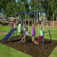 Sportspower Arcadia Metal Swing Set With Wavy Slide Trapeze And Flying Glider