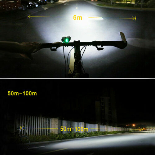 MTB Bike Bicycle Cycling USB Rechargeable LED Head Front Light w// Tail Lamp UK
