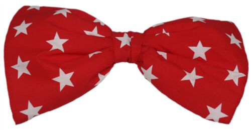Adults Red Star Fabric Giant Bow Tie Funny Clown /& Circus Fancy Dress