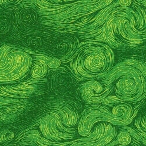Timeless Treasures Dream by Chong-A Hwang C6261 Green Swirls  Cotton