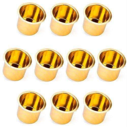 10 Jumbo Size Vivid Gold Aluminum Drink Cup Holders for Custom Poker Table New