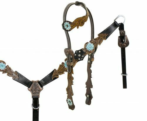 New One ear headstall cut out filigree tooling accented teal painted flower