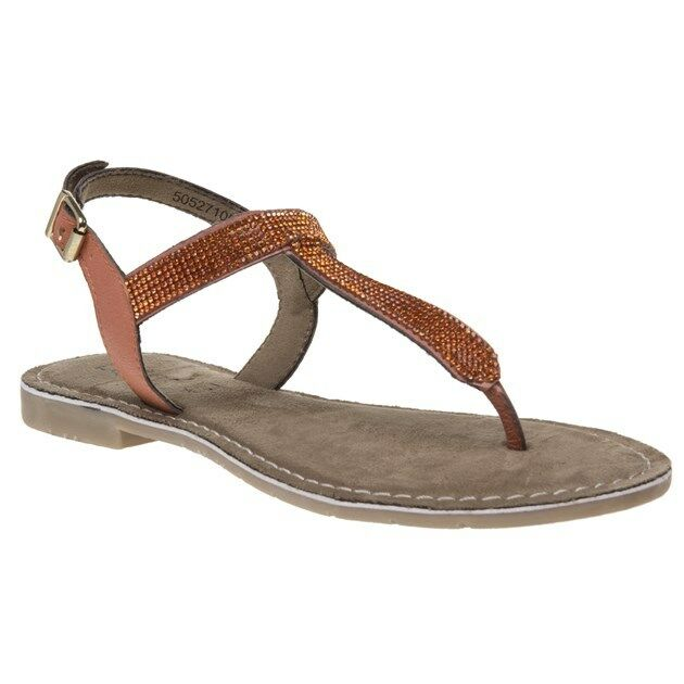 New Duca Womens Lotus Orange Tan Duca New Leather Sandals Flats Buckle Straps f84d2a