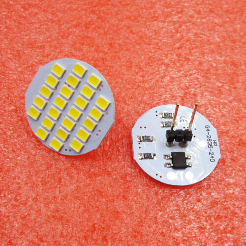 2 Pcs Car Auto Warm White 1210 SMD 24 LEDs Vertical G4 Back Needle Light Bulb