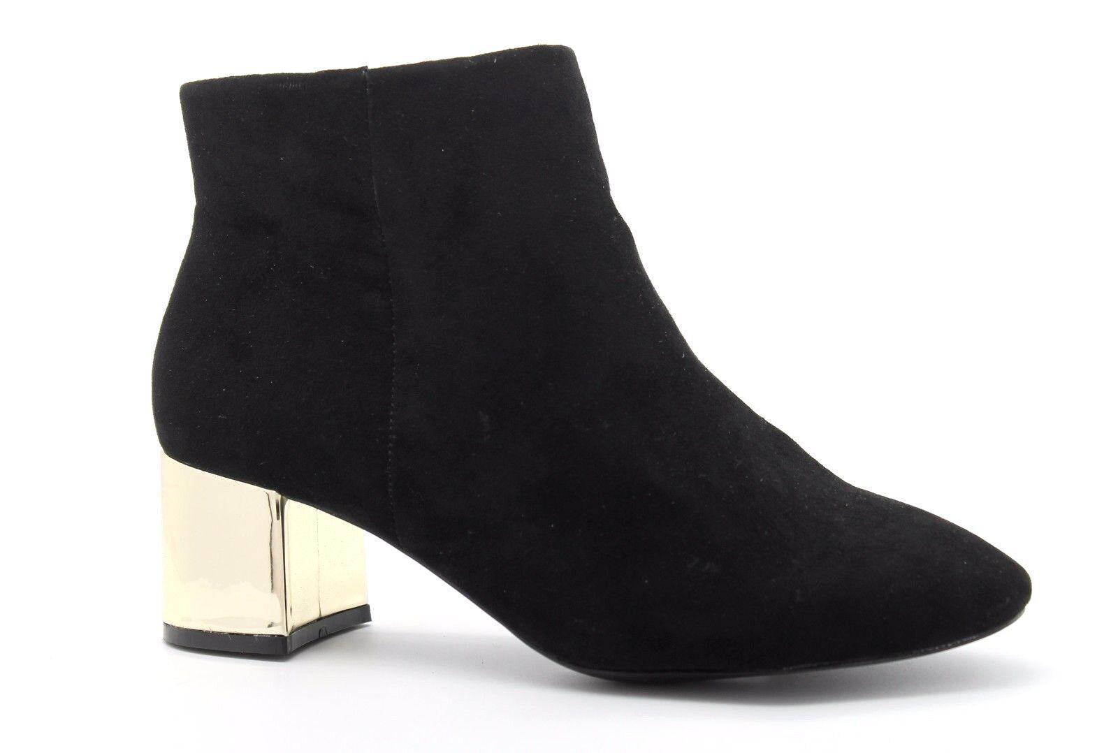 Evans Mujer Reino Unido 6 EEE Extra Ancho aisla Negro Imitación Gamuza botas al Tobillo Bloque Talón