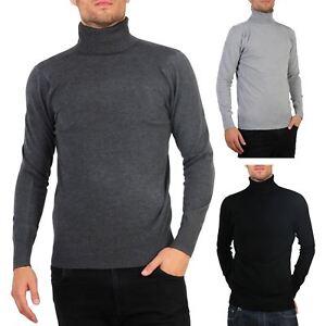 6c2f686853ea02 Hommes Pull Col Roulé Uni Classique Manche Longue Polo T-Shirt Slim ...