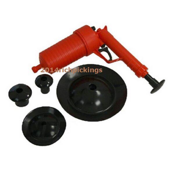 Suction Gun / Power Drain Cleaner with 4 Adaptors - Sink Bath Toilet Unblocker