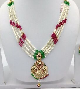 22CT-22K-BRIDAL-YELLOW-GOLD-PEARLS-RUBY-EMERALD-SET-NECKLACE-INDIAN-BOLLYWOOD
