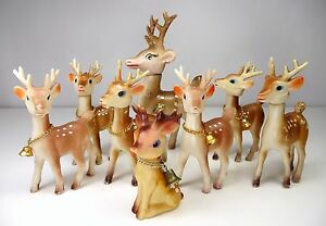 VTG LOT 8 Celluloid Reindeer Holiday Figurines. MCM Putz Christmas Decor