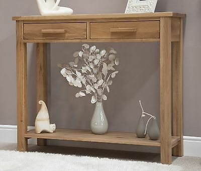 Nero solid oak furniture hallway console table with felt pads