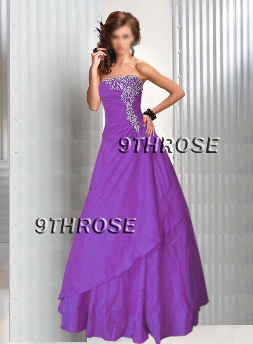 JUST DIVINE  STRAPLESS BEADED FORMAL EVENING PROM BALL GOWN; purplec AU 20 US 18