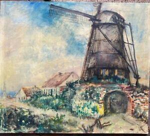 HANS-KRUZWICKI-1885-KREFELD-1971-RAESFELD-TURMWINDMUHLE-OLGEMALDE-SELTEN-OL
