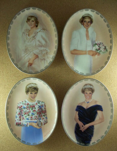 Diana Queen of Our Hearts Plate Set Princess Di Oval First Issues #1 #2 #3 #4