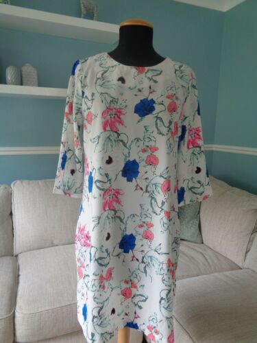 Darling London White Floral Print Tunic Dress Summer Size 14