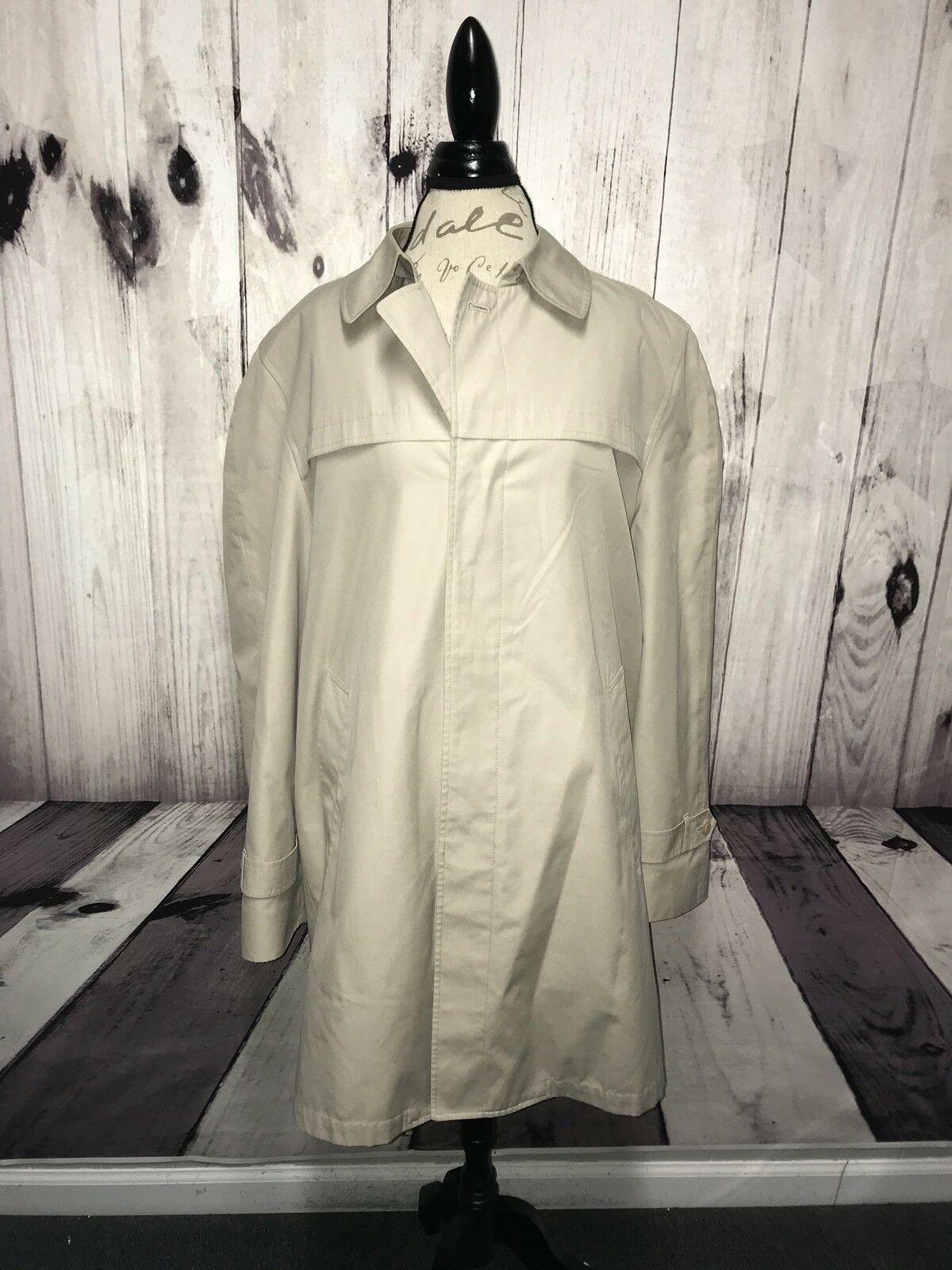 LONDON FOG Towne Mens Tan Rain Trench Coat Removable Liner 42 Long (UP025