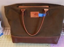 WILL LEATHER GOODS Signature BROWN PEBBLED LEATHER & CANVAS Open Top TOTE BAG
