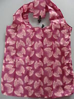 Eco Friendly Nylon Tote Shopping w/pouch Bags pink butterfly