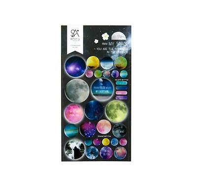 My Space Cool Fashion PVC Universe Theme Decoration Sticker 1 Sheet, 9.8*19cm