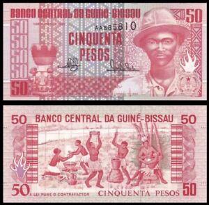 GUINEA-BISSAU-50-Pesos-1990-P-10-UNC-World-Currency