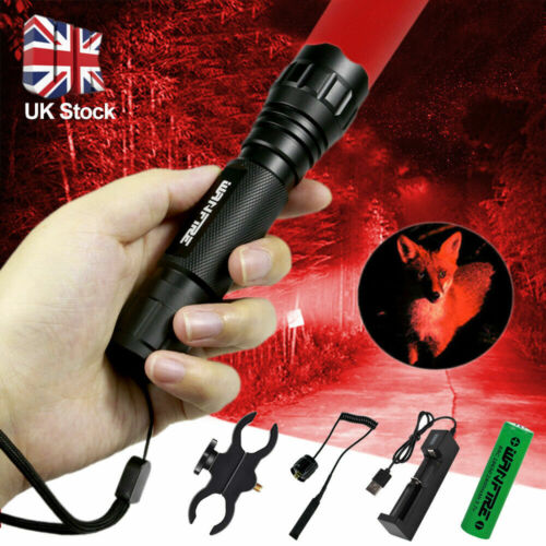 Tactical 8000LM Flashlight Lamp Hunting Air Rifle Torch Light Scope Mount T6 UK