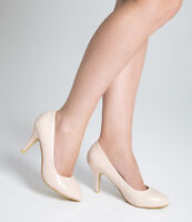 Ladies Womens Mid Heel Court Shoe / Office / Formal Shoes - Nude - UK Size 5