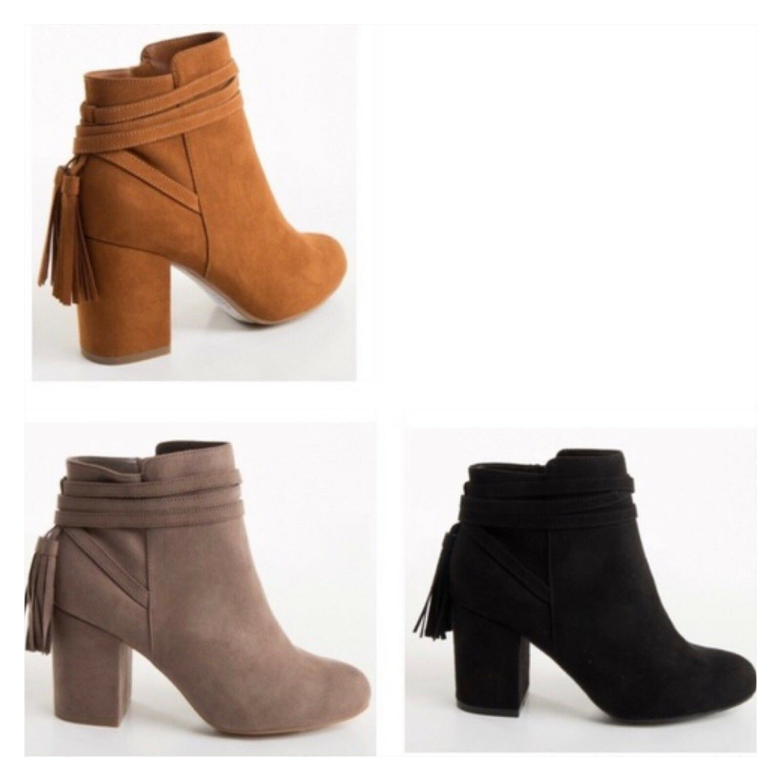 Women Vegan Suede Tassel Ankle Booties Ankle Boots Fall Boots