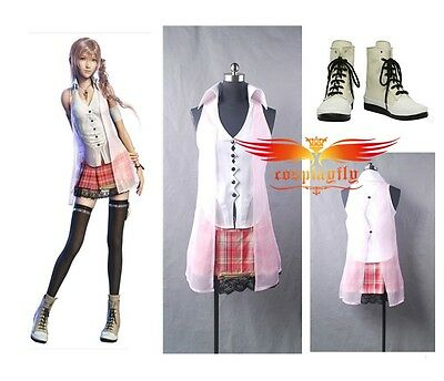 Final Fantasy XIII FF 13 Serah Farron Cosplay Costume Shoes Full Set Any Size