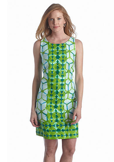 Taylor Lime Green Turquoise bluee Cotton Shift Work Social Dress 8