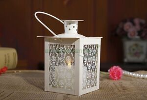 White-Retro-Metal-Vintage-Floral-Glass-Candle-Hanging-Holder-Home-Lantern-Decor
