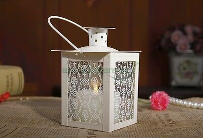 White Retro Metal Vintage Floral Glass Candle Hanging Holder Home Lantern Decor