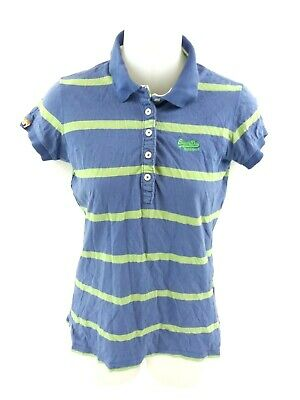 Superdry Womens Polo Shirt Xs Blue Green Cotton