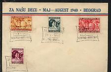 Yugoslavia  B112-115  on cachet  cover  1940      KL1213