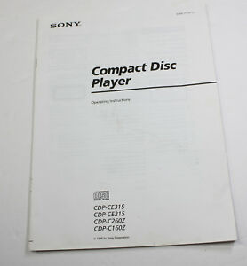 ORIGINAL OWNERS MANUAL for SONY CDP CE315 CE215 CE260Z CE160Z CD PLAYER CHANGER