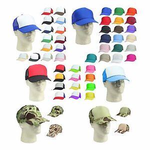 Trucker Hat Baseball Cap Mesh Caps Blank Plain Hats (39 Color ... 22234849d5b0