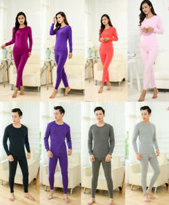 9c258d5271 2X Couple Women Men Warm Thermal Underwear Set Top+Pants Long Johns ...