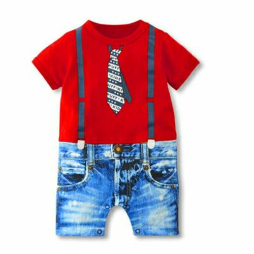 Baby Newborn boys Gentleman Rompers Short Sleeve Clothes Bodysuit Jumpsuit 0-18M