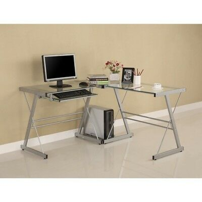 Modern Corner Computer Desk in Metal and Glass | eBay