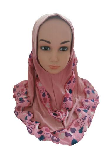 Kids Girls Hijab Scarf Head Cover Wrap Scarves Islamic Headwear Children Hats
