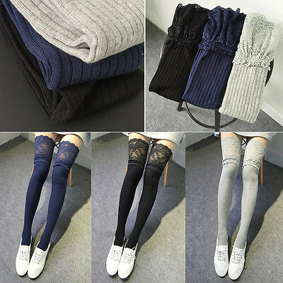 New Knitting Lace Cotton Over Knee Thigh Stockings High Socks Pantyhose Tights