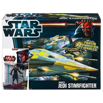 Star Wars Clone Was Anakin Skywalker /& Jedi StarFighter Action Figures and Ship